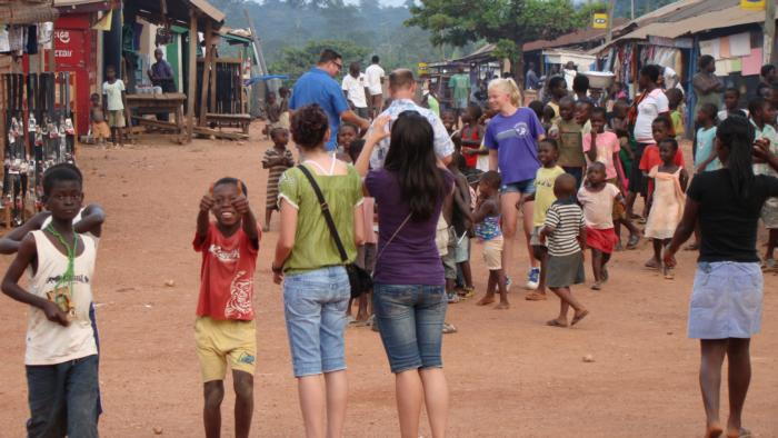 Walking Awaso Village streets.
