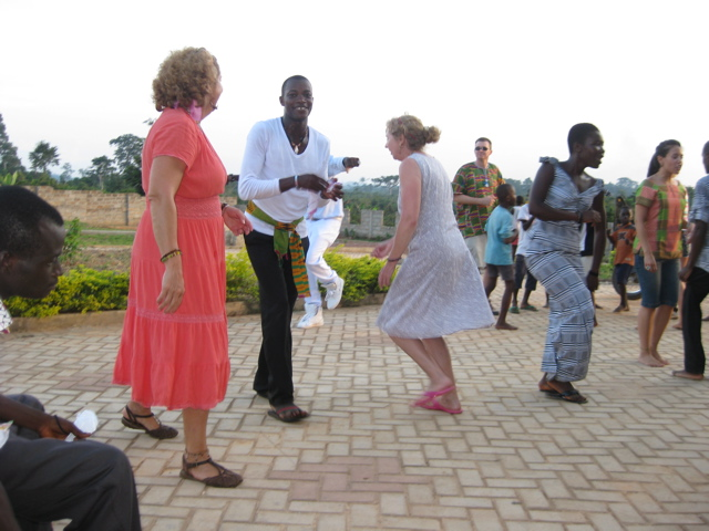 Crew dancing outside of courtyard of Casa Maria.