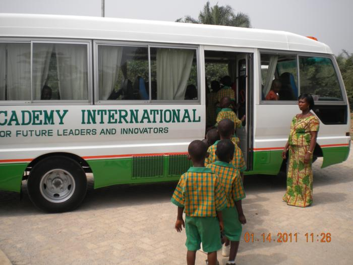 This is picture of the new schoolbus for Awaso Academy International.