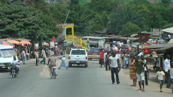 Close up view of the streets of Ghana villages.