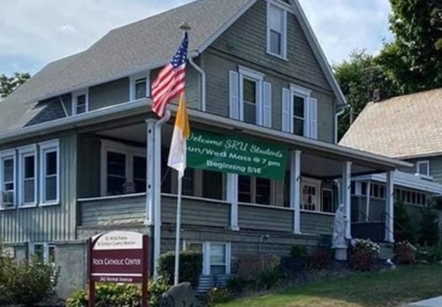 Find our Newman Center at 342 Normal Avenue - across from SRU's Old Main Bldg.