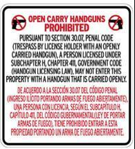 Open Carry Prohibited English