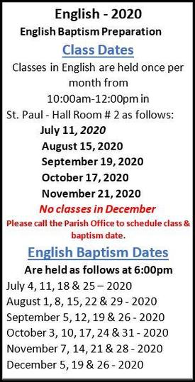 English Baptisms from July to Dec 2020