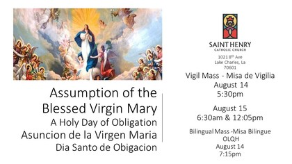 Assumption of the Blessed Virgin Mary Obligation Masses