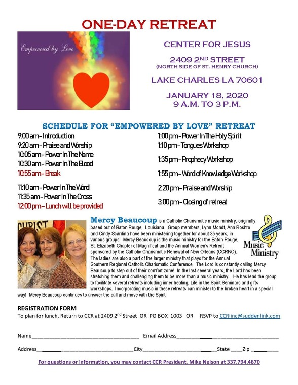 One Day Retreat - January 18, 2020 @ Center for Jesus