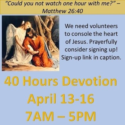 St. Henry 40 Hours Devotion. Register your hour calling to the office or in the link below