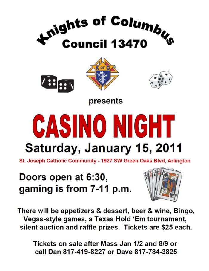 St. Joseph's Knights of Columbus Casino Night!