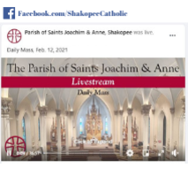 Watch Mass on our Facebook page