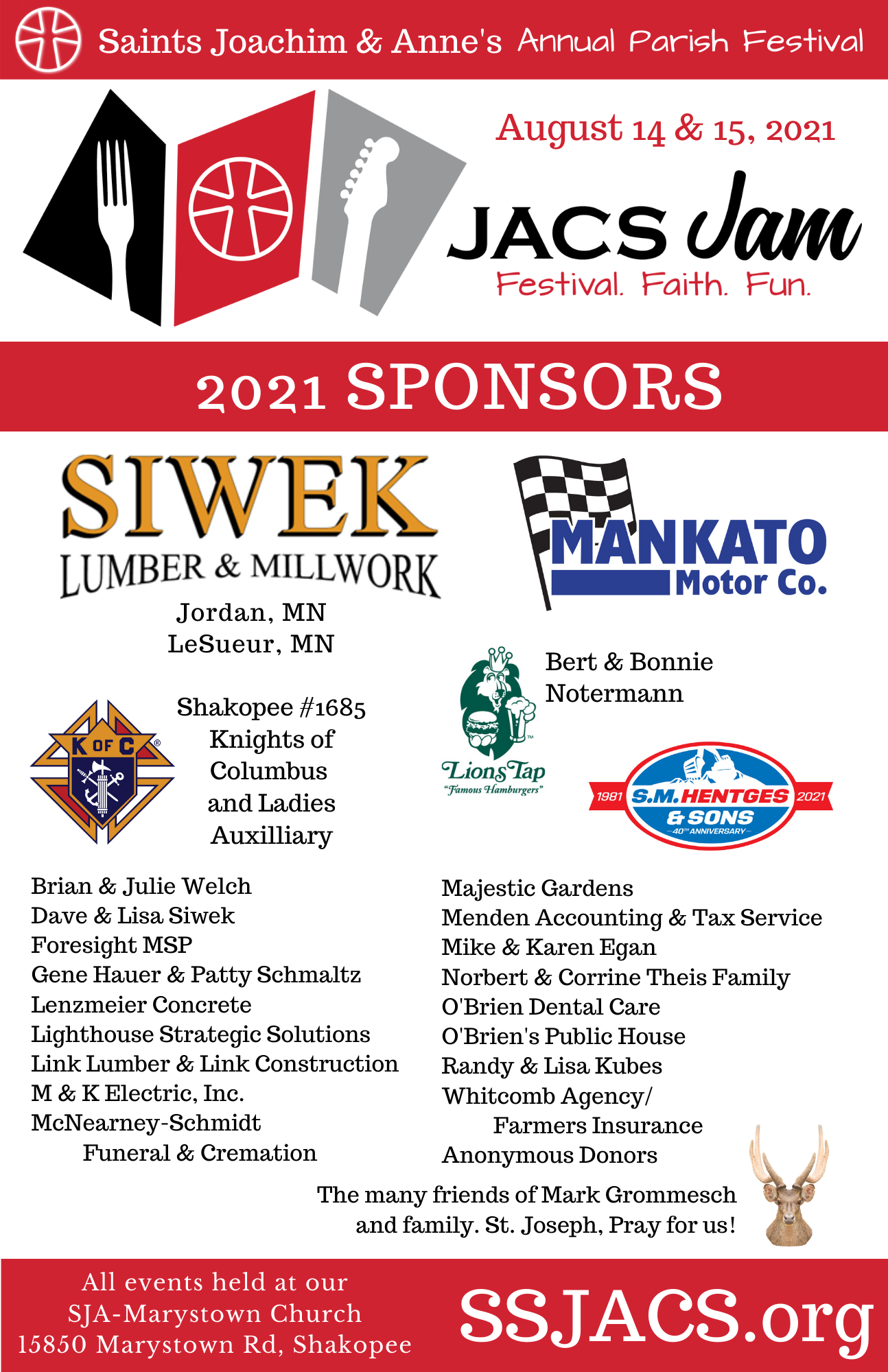 Special Thank You to our 2021 JACS JAM Sponsors