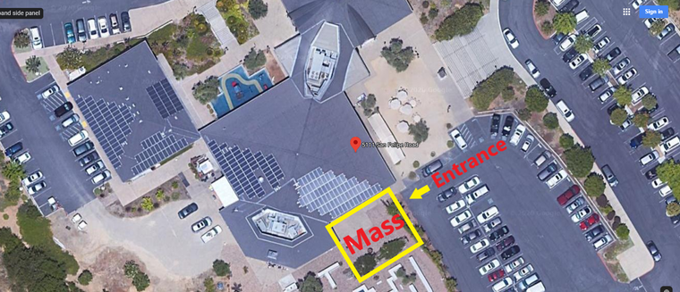 Mass will be held outside by the Memorial Garden. Entrance is at the upper parking lot.