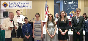 HFA Students winners in K of C Essay Contest