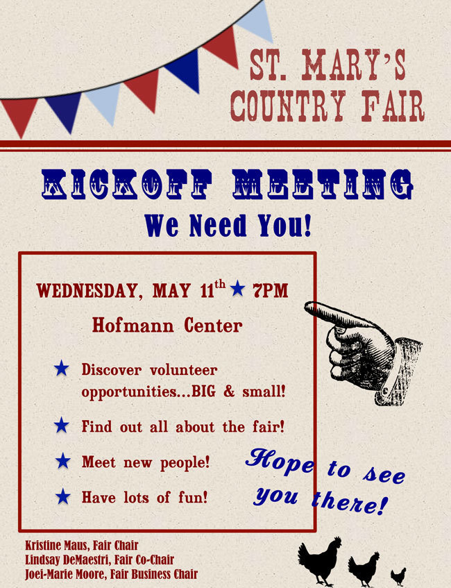 Country Fair Kick-Off Meeting May 11, 2016 at 7 p