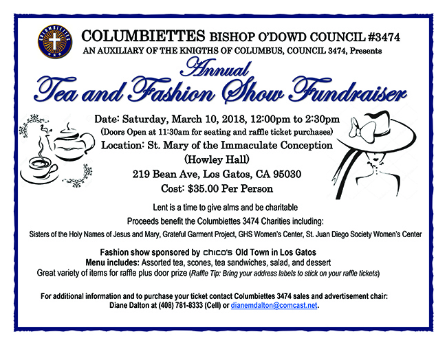 Annual Tea and Fashion Show Fundraiser at St. Mary - Los Gatos