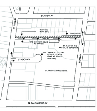 Map of Construction on Tait Avenue