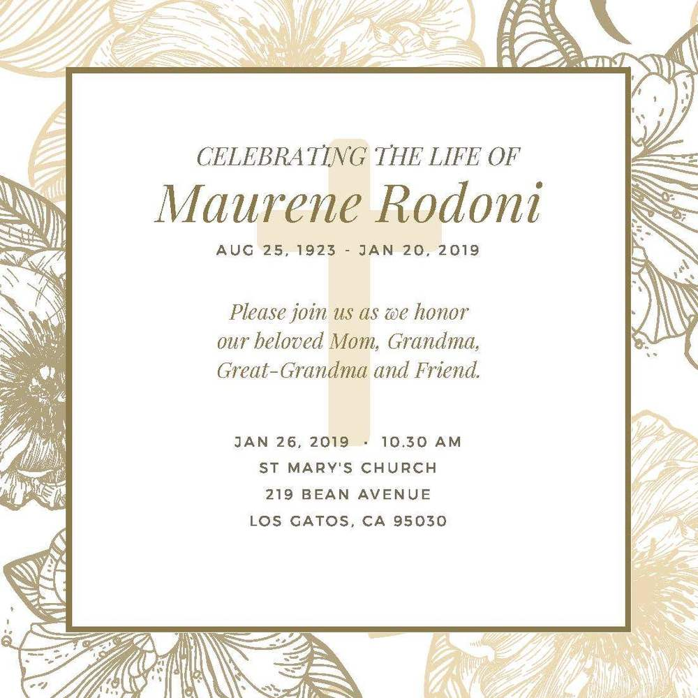 Celebrating the life of Maurene Rodoni