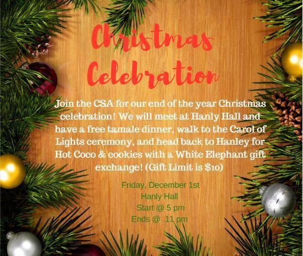 Christmas Celebration, Dec 1, 5pm, Hanly Hall