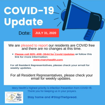 Covid-19 Facility and Resident Update July 31, 2020
