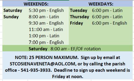 UPDATED MASS SCHEDULE DURING COVID-19