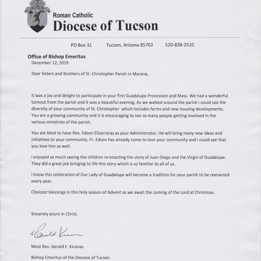 Bishop Emeritus Kicanas Letter To St. Christopher