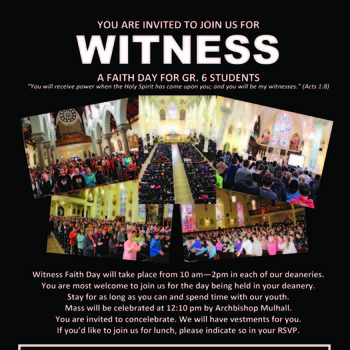 WITNESS - A FAITH DAY FOR GRADE 6 STUDENTS