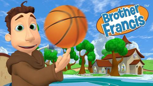 Brother Francis; Cartoon representation of St. Francis with a basketball