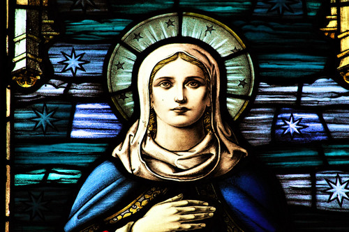 Stained glass image of Mary