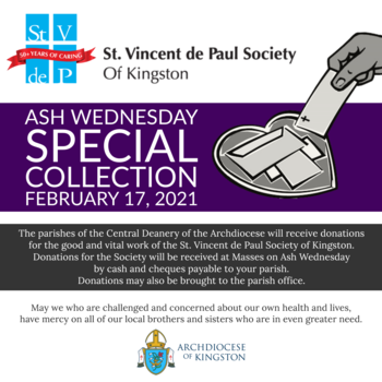 Ash Wednesday Special Collection for the St. Vincent de Paul Society