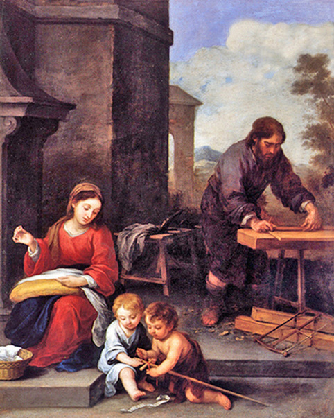 Joseph at the woodworking table, Mary looking at Baby Jesus and another child.