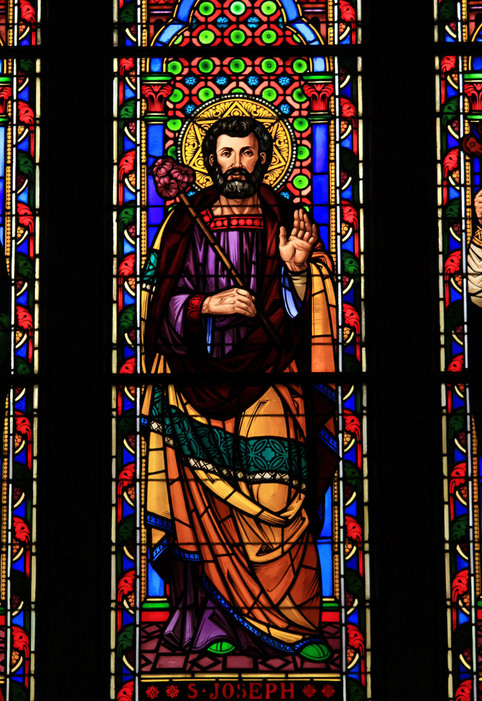 Stained glass image of St. Joseph