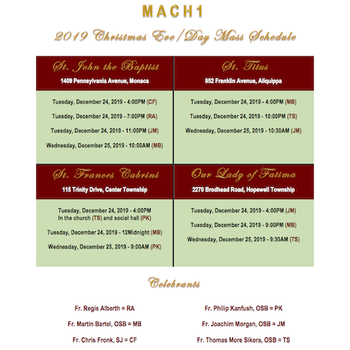MACH1 Christmas Mass Schedule