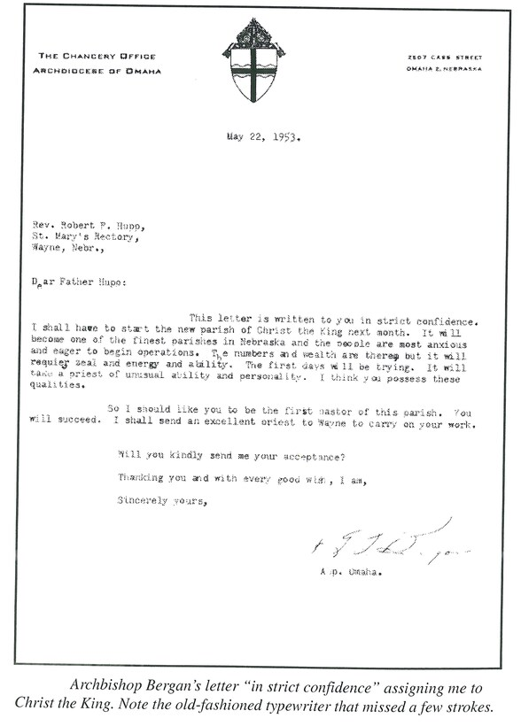 "Archbishop Bergan's letter ""in strict confidence"" assigning me to Christ the King. Note the old-fashioned typewriter that missed a few strokes."