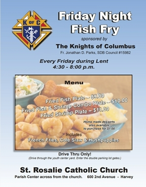 St. Rosalie Church Lenten Fish Fry