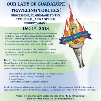 Our Lady of Guadalupe Traveling Torch Procession and Bishop's Mass at Cathedral