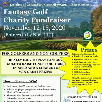 Knights of Columbus Fantasy Golf Fundraiser for Catholic Charities East Bay