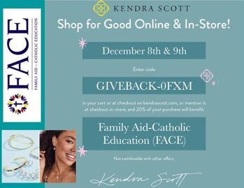 You can Support FACE through the Shop for Good Event w/Kendra Scott