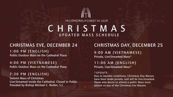 Christmas Day Mass Times at Cathedral of Christ the Light (online only)