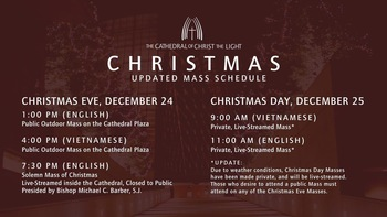Christmas Eve Mass Times at Cathedral of Christ the Light (outdoor & online)