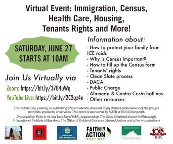 Faith In Action East Bay, Virtual Event, June 27, 2020