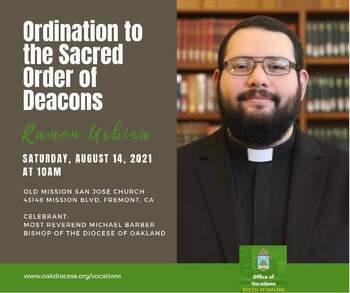 Ramon Urbina to be ordained as transitional deacon Aug. 14, 2021