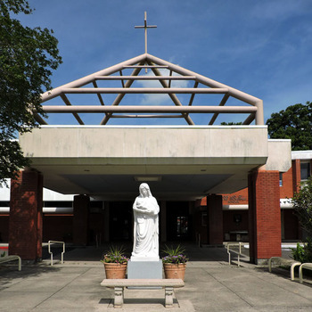 MOTHER MARY'S STATUE RECEIVES A NEW BENCH