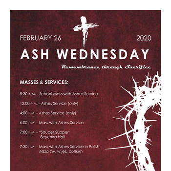 Ash Wednesday 2020 Schedule