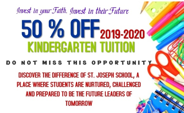 50% off Kindergarten Tuition