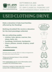 St. Ann Classical Academy Used Clothing Drive - September 24