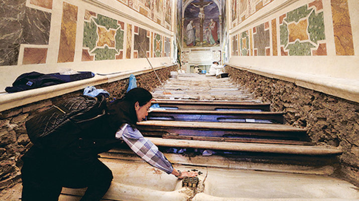 Worn, marble Holy Stairs to be uncovered for public to climb