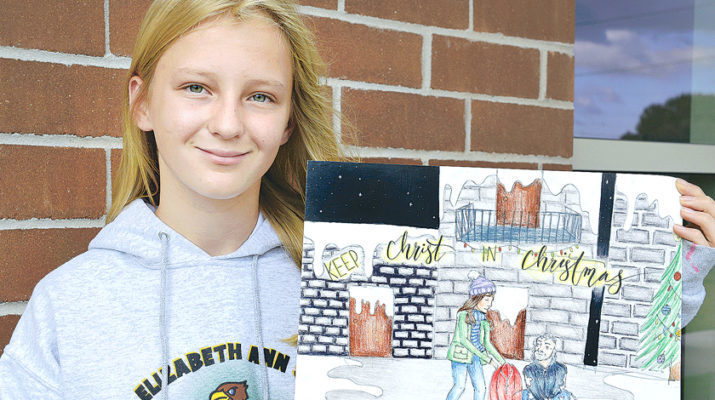 Keep Christ in Christmas: Poster by Sophie Michalewicz, 7th grade, St. Elizabeth Ann Seton