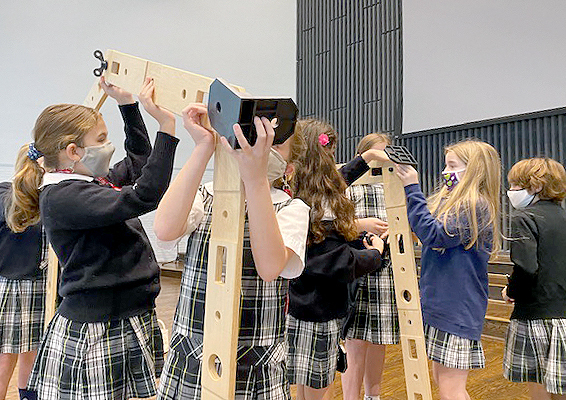 Academy of the Sacred Heart 4th graders engineer stable