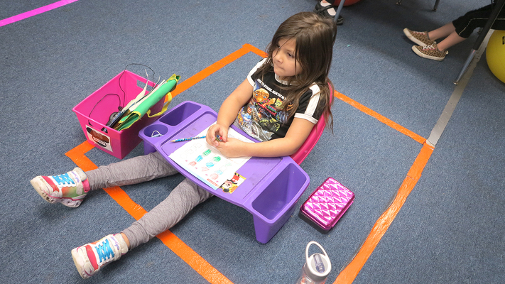 St. Cletus kindergartners' alternative seating sits just fine with them