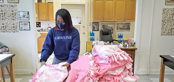 Ursuline junior coordinates blanket-making drive to warm all ages
