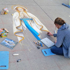 Sidewalk artist shares faith and art, reaching unexpected lengths