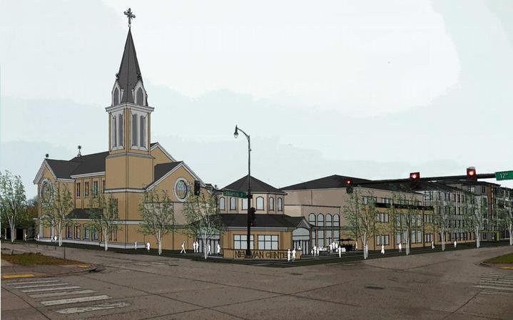 Drawing of new church and student center